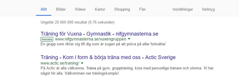 google sökning annons